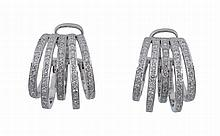 A pair of diamond set ear hoops , each with five undulating diamond set bars
