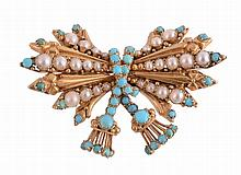 A 19th century gold turquoise and pearl tasselled bow brooch, circa 1840
