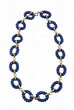 A lapis lazuli necklace , the woven small lapis bead links with circular...