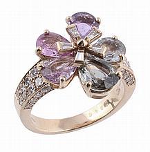 A multi colour sapphire and diamond Flora ring by Bulgari