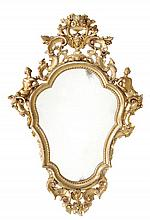 A giltwood cartouche-shaped wall mirror in