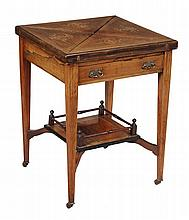 A Victorian rosewood and marquetry decorated