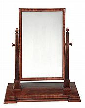A William IV figured mahogany dressing mirror,