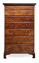 A George III mahogany secretaire chest, circa