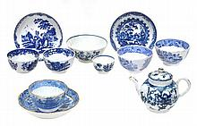 A selection of English blue and white porcelain,