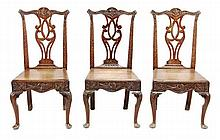 A set of six George III oak dining chair, circa
