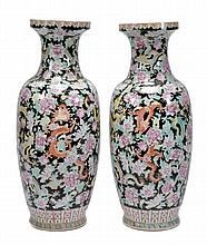 A pair of famille rose vases, each of ovoid form