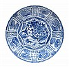 A Chinese Kraak blue and white dish of barbed