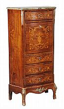 A French rosewood and marquetry decorated