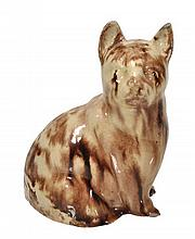 An English creamware model of a seated cat,