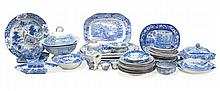 A mixed selection of mostly Staffordshire blue and