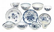 A selection of English blue and white 18th century