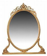 A Victorian oval gilt framed mirror, circa 1880,