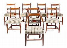 A set of eight Regency mahogany dining chairs,