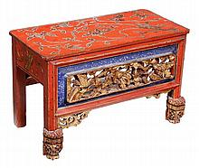 A Chinese painted wood altar, the rectangular body