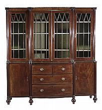 A 19th Century mahogany breakfront library bookcase,