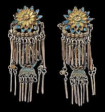 Two pairs of white metal, gilded earrings, Qing