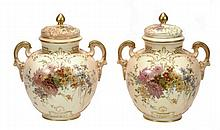 A pair of Royal Worcester globular two-handled