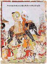 An Indian miniature painting depicting Maharana