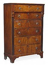 A Louis Philippe mahogany tall chest of drawers,