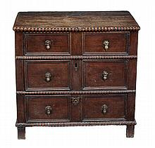 An oak chest of drawers, late 17th/early 18th
