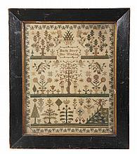 A late George III or Regency needlework sampler,