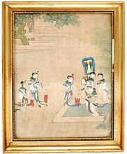 A Chinese painting of a garden scene depicting