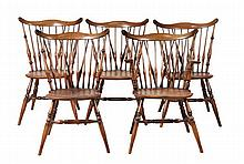 Five elm and yew Windsor chairs, 19th century,