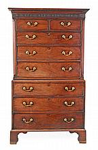 A George III mahogany chest on chest, circa 1780,