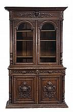 A Continental carved oak bookcase, 19th century,