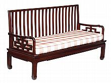 A Chinese hardwood settle, 20th century, with