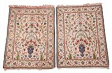 A pair of Tabriz rugs, each flat woven field