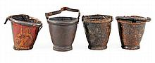 * Four leather fire buckets, 19th century, each of