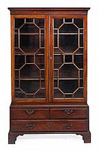 A mahogany cabinet bookcase, circa 1780 and later,