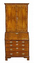 A George II walnut bureau bookcase, circa 1740,