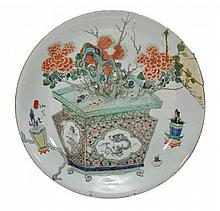 A famille verte saucer dish, the circular dish