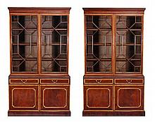 A pair of mahogany and satinwood crossbanded