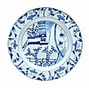 A Chinese Export blue and white plate of dished,