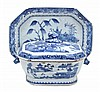A Chinese Export blue and white tureen, cover and