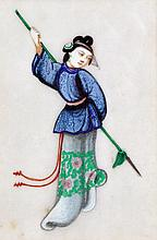 A set of six Chinese pith paintings, each