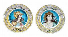 Two pottery wall plates by Theodore Deck, painted