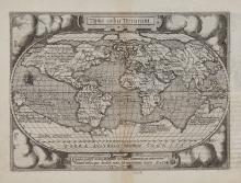 Ortelius (Abraham) and Philippe Galle - Tiipus orbis Terrarum [with verso] Americae sive novi orbis nova descriptio,