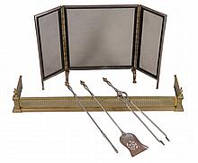 A set of steel and brass mounted fire irons in George III style
