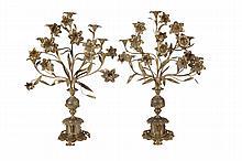 A pair of French gilt brass seven light candelabra, circa 1880