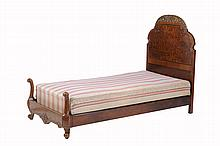 A pair of Queen Anne style burr walnut and parcel gilt single beds , circa 1930