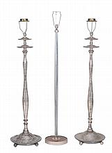 A pair of silvered wood Art Deco style standard lamps , circa 1930