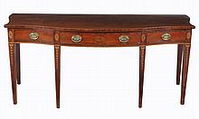A George III mahogany and crossbanded serving table , circa 1800