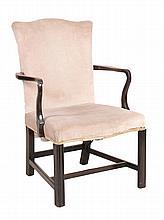 A George III mahogany open armchair , circa 1770, 96cm high, 61cm wide