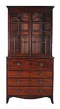 A George III mahogany secretaire bookcase, circa 1780