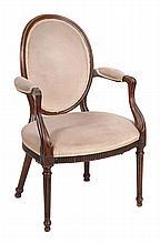 A George III mahogany elbow chair , circa 1780, 96cm high, 59cm wide, 53cm deep